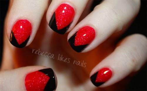 unas decoradas rojo
