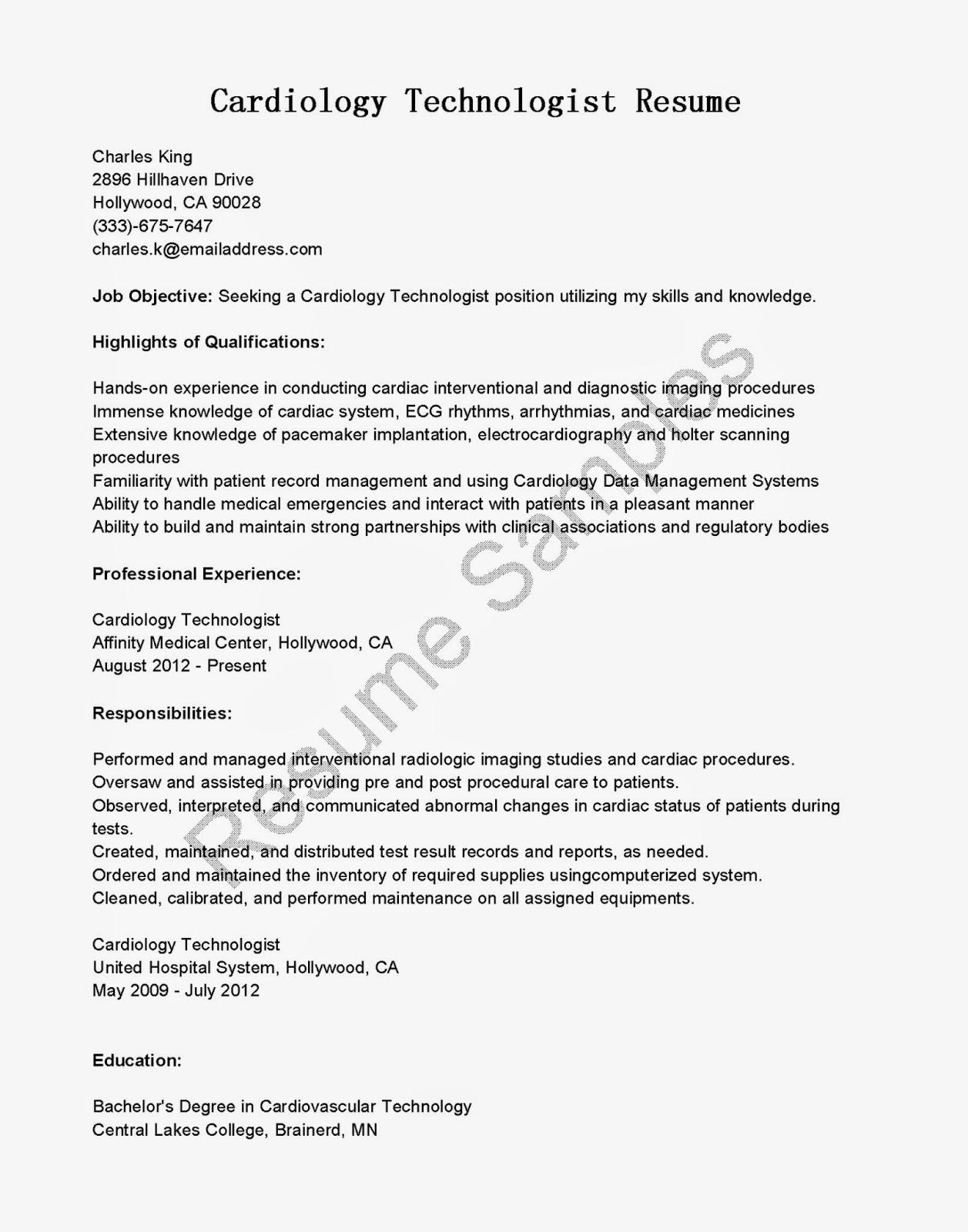 Resume Samples Cardiology Technologist Resume Sample