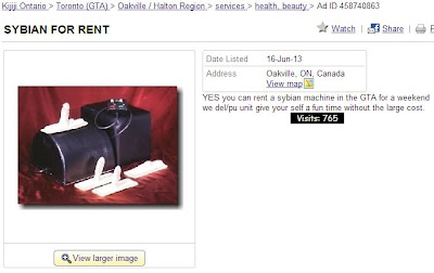 Sybian for rent on Kijiji Toronto