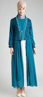 Desain Dress Muslim Pesta Mewah