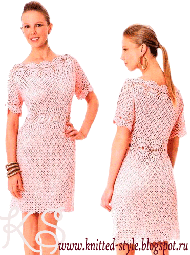 нежно-розовое ажурное платье