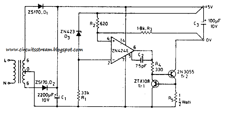build a 5v 0 5a power supply circuit diagram