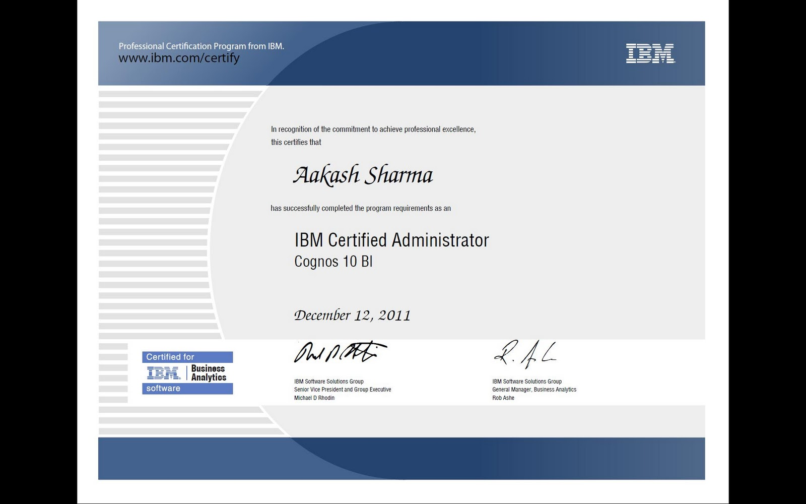Ibm cognos server ibm cognos 10 bi administrator certification update heres what the certificate looks like just to get you excited 1betcityfo Gallery