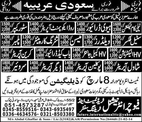 FIND JOBS IN PAKISTAN HTV DRIVER MASON JOBS IN PAKISTAN LATEST JOBS IN PAKISTAN