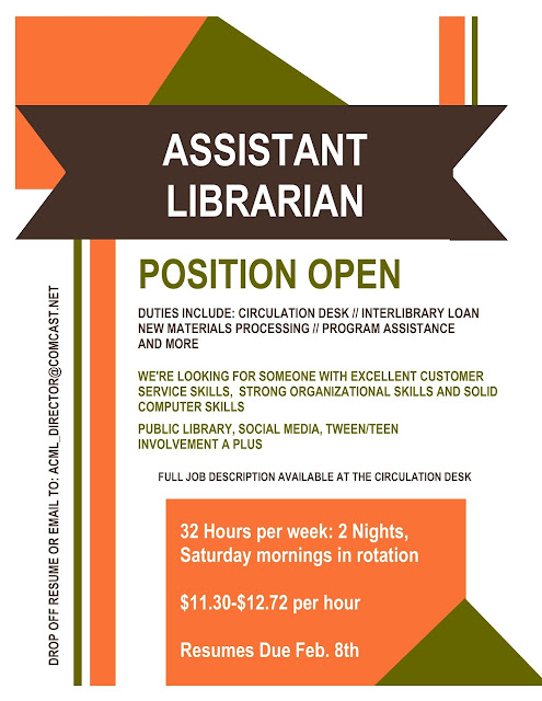 Assistant Librarian Position Open 1-22-16