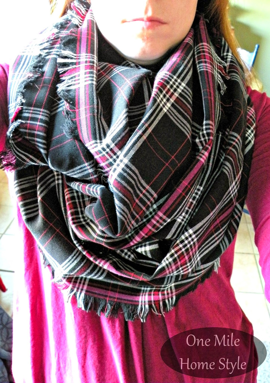 DIY Plaid Blanket Infinity Scarf in Black, White and Pink | One Mile Home Style