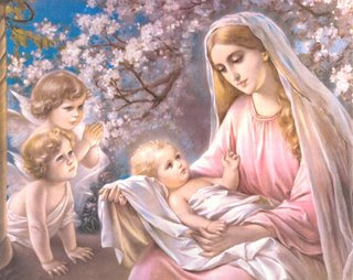 Angels and Mother Mary Caring Child Jesus