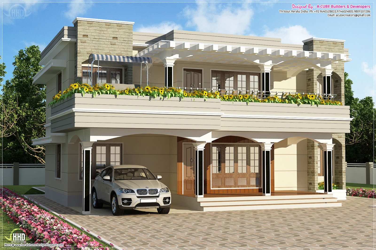 Modern flat roof villa in 2900 kerala home Flat house plans