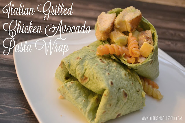 Italian Grilled Chicken Avocado Pasta Wrap, Tyson® Grilled & Ready® Chicken Breast Strips, easy chicken wraps, wrap recipes, pasta salad recipes, chicken pasta salad
