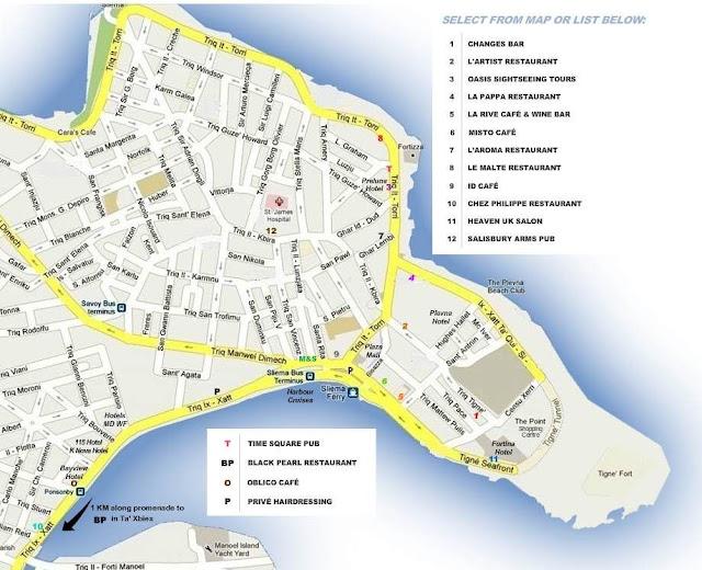 Mapa Sliemy - Malta