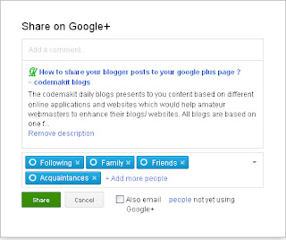 Share your blogger posts to your Google plus Circle