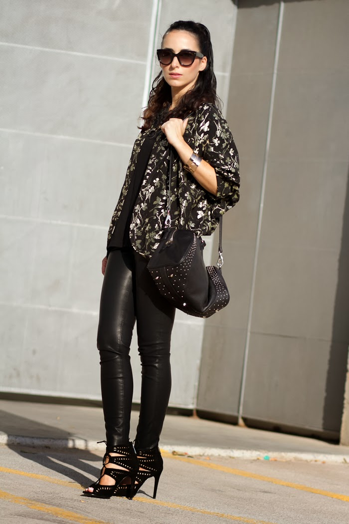 Streetstyle kimono and leather pants