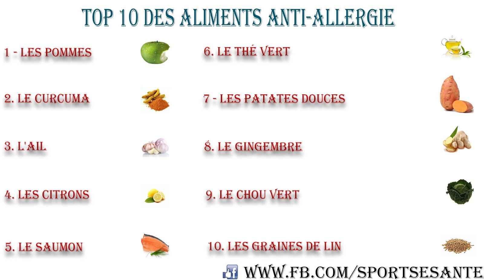 top 10 des aliments anti allergie sports et sant. Black Bedroom Furniture Sets. Home Design Ideas