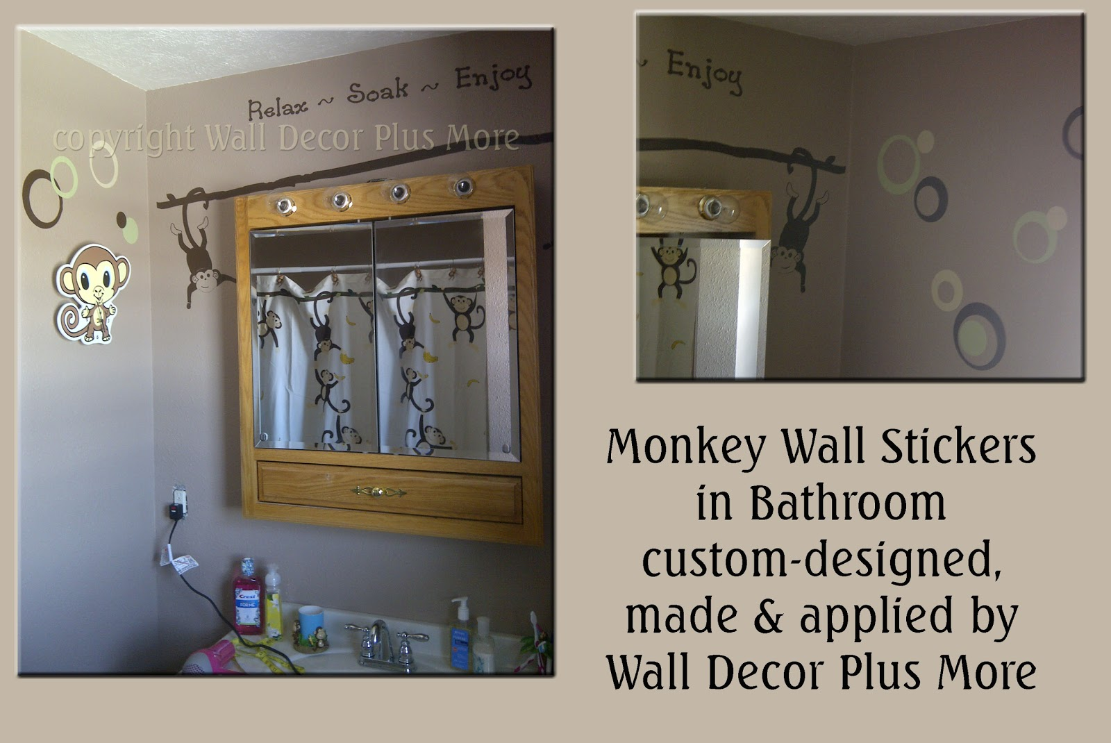 Decorating with wall vinyl custom made monkey wall for Money bathroom decor
