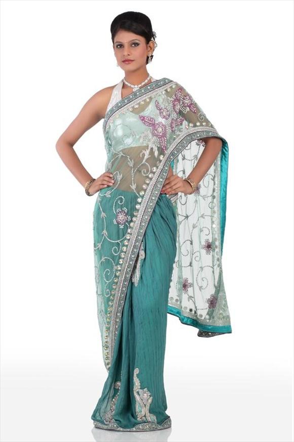 Spring Green Net Saree