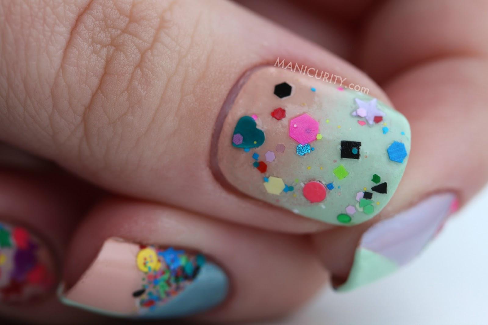 The Digit-al Dozen: Twenty-Teens Colorblocked Tape Mani + Candy Lacquer Misfit Toys accents | Manicurity.com