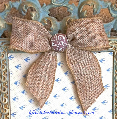 burlap bow with button