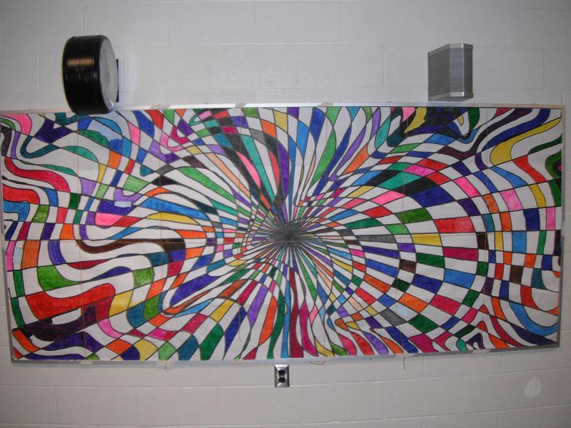 Mrs wiley 39 s wonderful world op art mural for Elementary school mural ideas