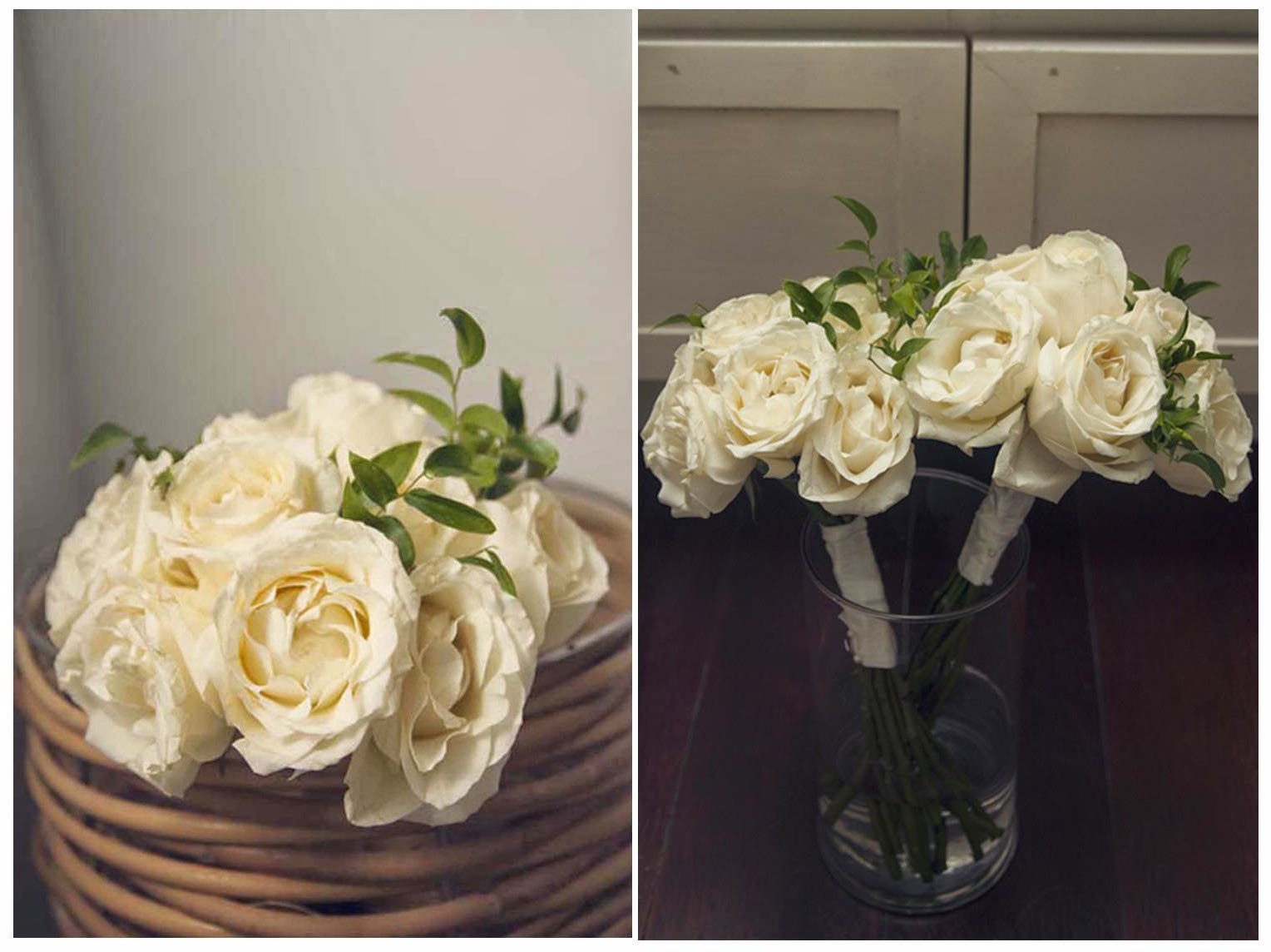 white roses and smilax leaves
