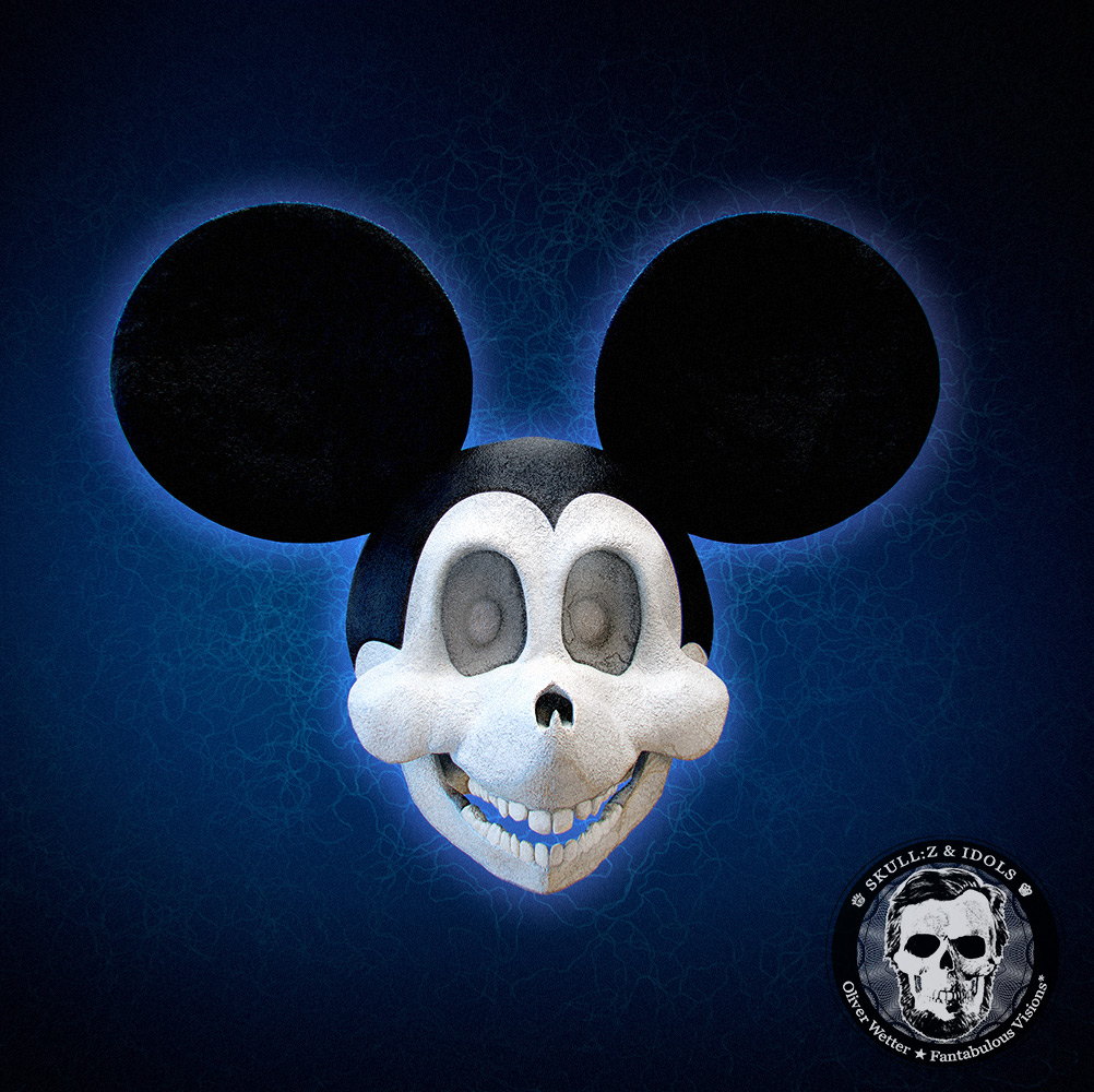 Skull portrait of Mickey Mouse