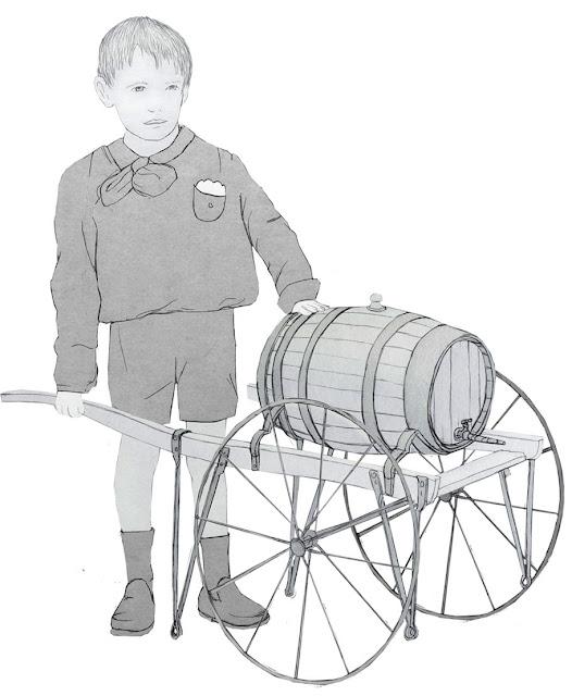 niño, transporte, tonel, dibujo
