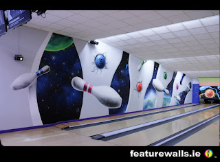 CASTLEBAR BOWLING GLOW IN THE DARK MURAL UV MURALS FOR BOWLING ALLEYS IRELAND HAND PAINTED BY FEATUREWALLS.IE