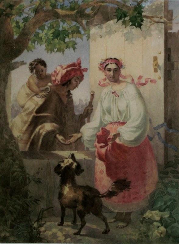 Тарас Шевченко. Цыганка гадает украинской девушке. 1841 г.