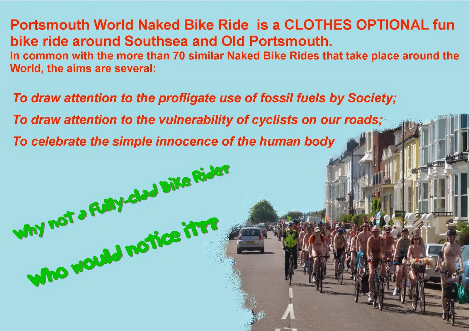 Naked Bike Ride Portsmouth, Naked Bike, nude bike, nude ride