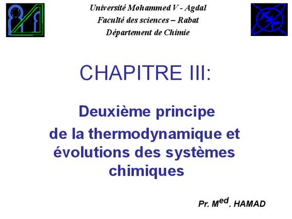 Deuxième principe de la thermodynamique et évolutions des systèmes chimiques