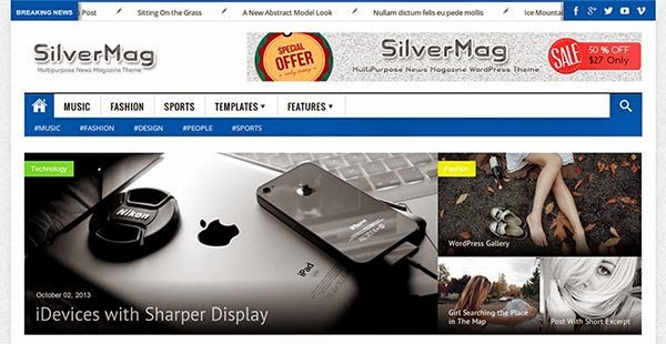 Download Gratis Silver Mag Wordpress theme , News , Magazine