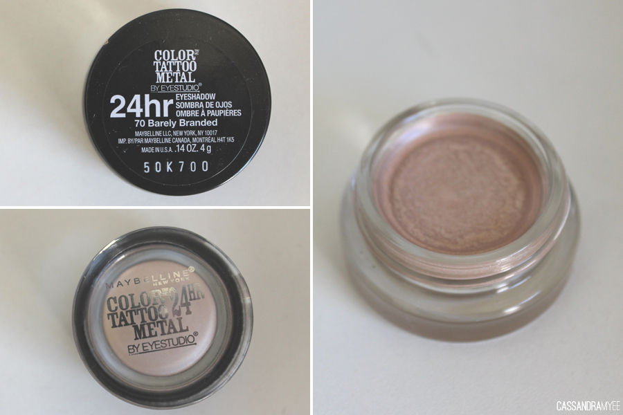 Maybelline color tattoo 24hr metal eyeshadow in barely for Maybelline color tattoo barely branded