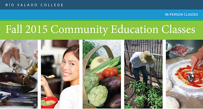 Banner for Sustainable Foods Fall 2015 Community Education Classes.  Includes images of cooking demos.