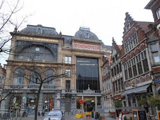 Socialist workers building in Vrijdagmarkt square, Ghent