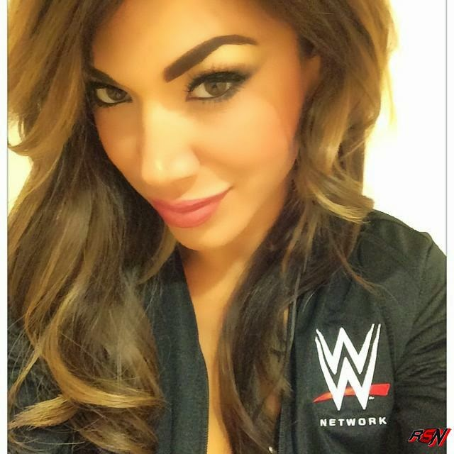 Rosa Mendes Showing Off Her WWE Network Jacket.