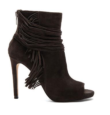 Vince Camuto Black peeptoe high heeled booties with fringe