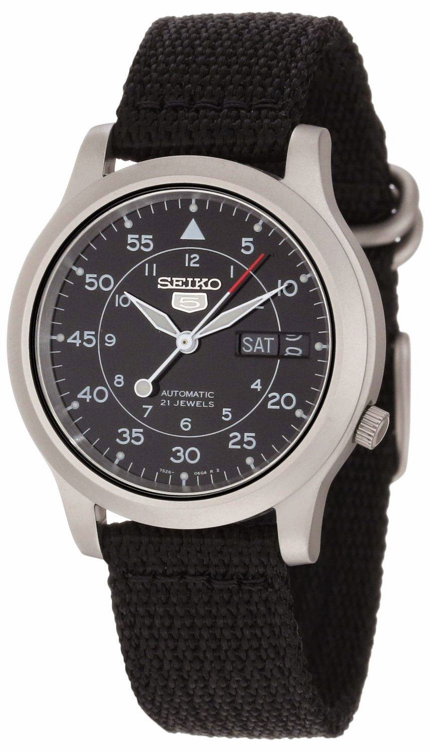 "Seiko Men's SNK809 ""Seiko 5"" Automatic Watch with Black Canvas Strap"