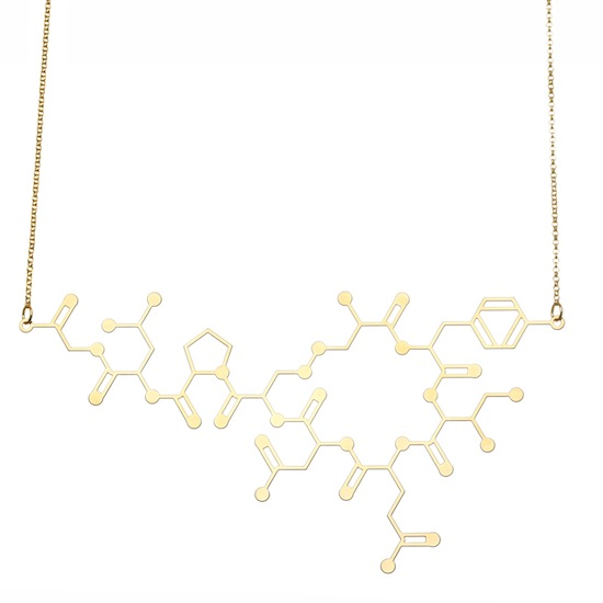Aroha Silhouettes Gold Plated Oxytocin Molecule Necklace