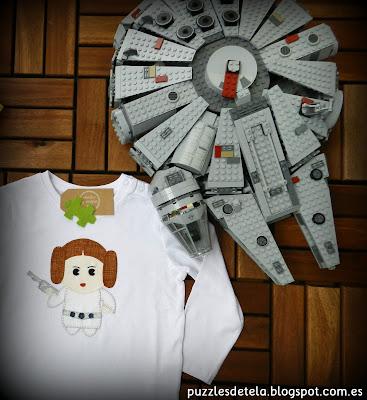 Star Wars, el despertar de la fuerza, patchwork, patchwork Star Wars, Star Wars el despertar de la fuerza, camistas patchwork, camisetas patchwork Star wars, salón del cómic, stars wars Lego, princesa Leia, Halcón Milenario,