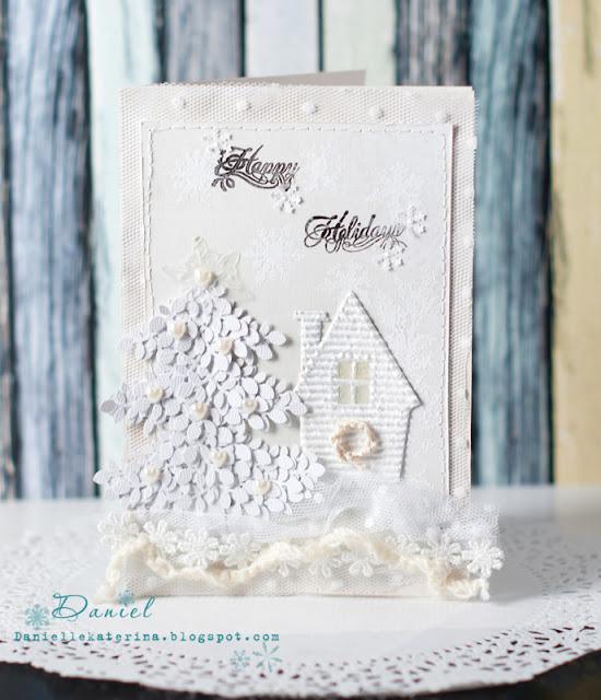 новогодняя открытка белая палитра