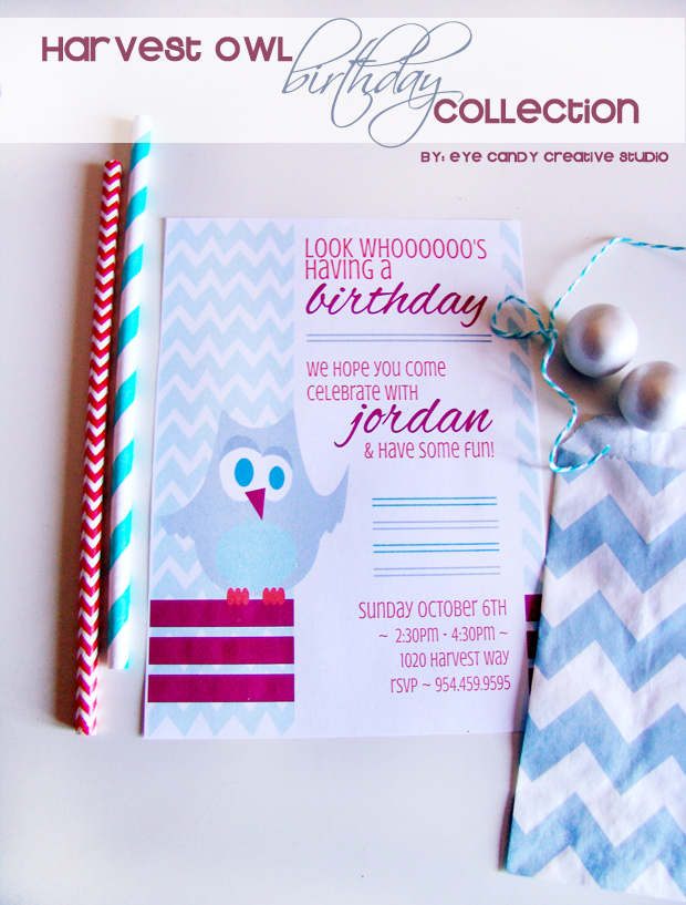 harvest owl invitation, owl birthday invite, owl party, birthday, chevron