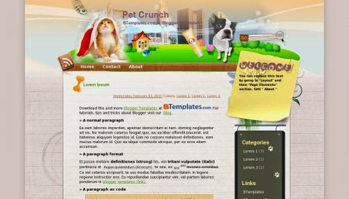 Pet Crunch - Free Blogger Template