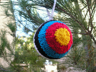 knitted, archery target, ornament