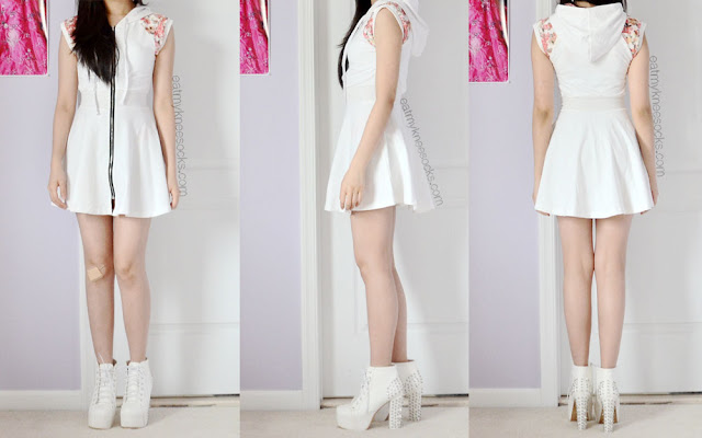 Front, side, and back views of this summer ulzzang outfit/OOTD, with the white zip-up floral hooded Romwe skater dress and white spiked platform heeled booties.