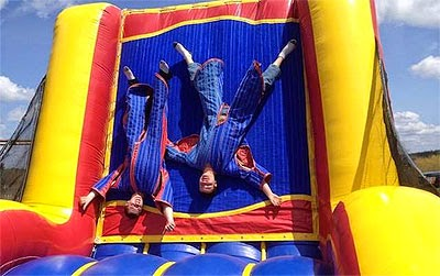 Velcro Suits on a Velcro inflatable wall.