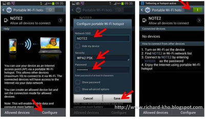 cara setting hotspot wifi di Samsung Galaxy Note 2