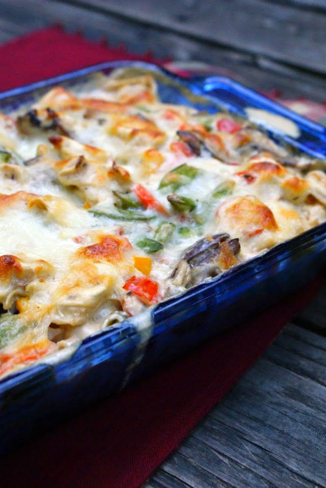 Tortellini and Garden Vegetable Bake in a creamy mushroom herb sauce.  Delicious!