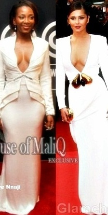 RED CARPET GLAM-Genevieve Nnaji and Cheryl Cole In a Figure-hugging, Low Cut White Dress