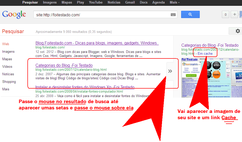 encontrar seu blog no cache do google