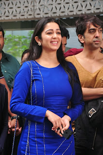 Actress Charmi Kaur Latest Pictures in Short Dress with R Rajkumar Movie Team at Yes Mart 0004.jpg