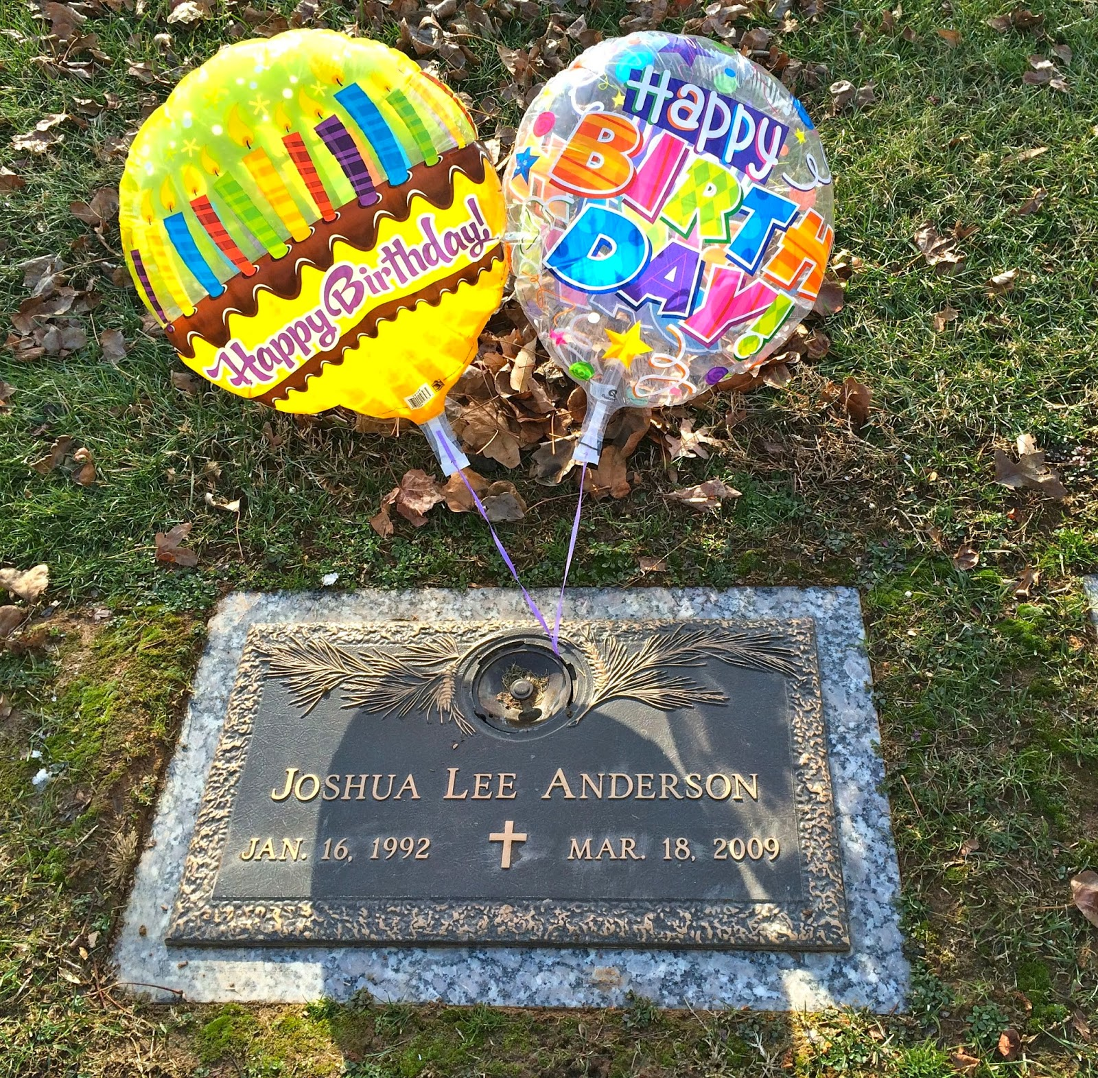 Sad Today As It Wouldve Been Joshs 23rd Birthday My Parents Went With Me To The Park Put Some Balloons On His Stone